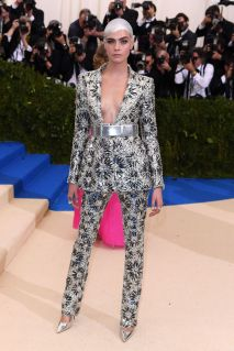 Cara Delevingne in a silver Chanel suit