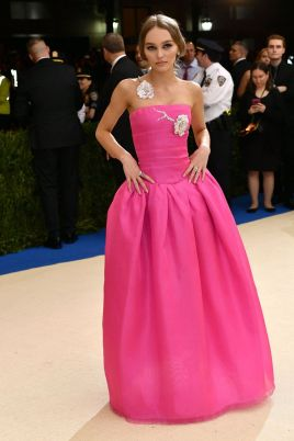 Lily-Rose Depp in a pink gown by Chanel