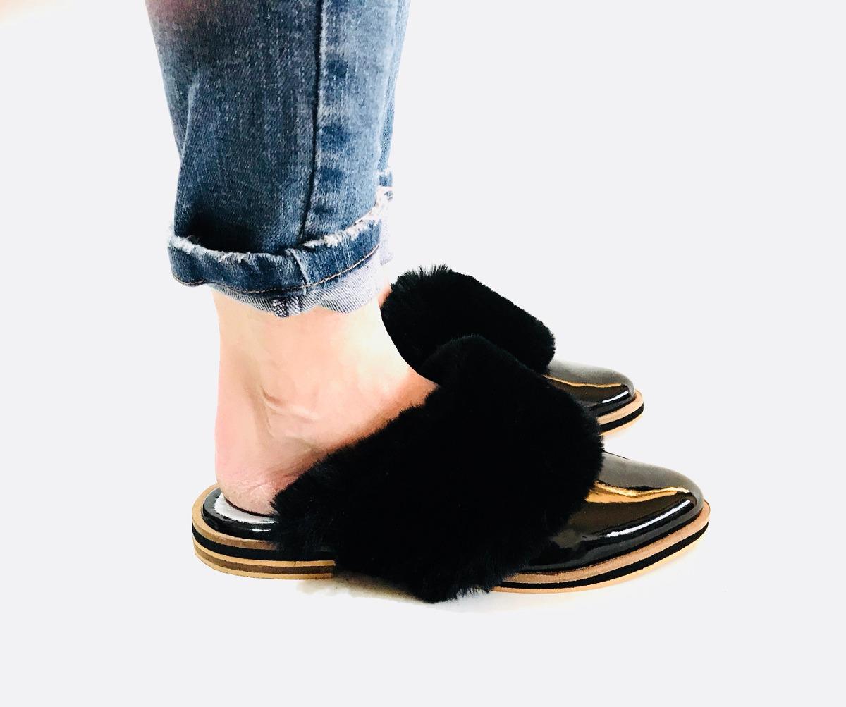bastante agradable 08b71 9bf61 slippers-zuecos-zapatos-con-pelo-mujer-otono-invierno-2018 ...